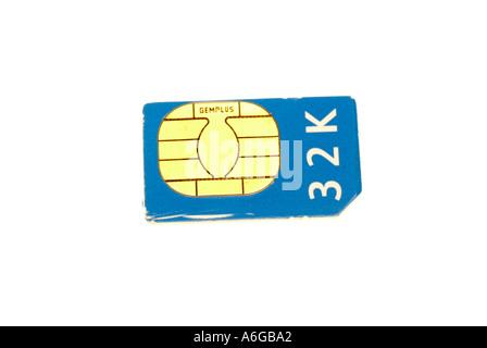 moblie telephone, simm card 32K - Stock Photo