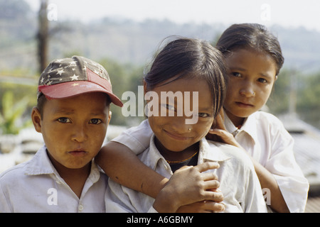 learners in the Annapurna area, Nepal - Stock Photo