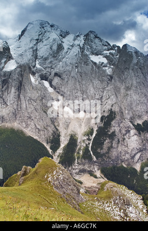 view of the Marmolada mountains with fresh snow in August, Italy, Trentino, Dolomites - Stock Photo