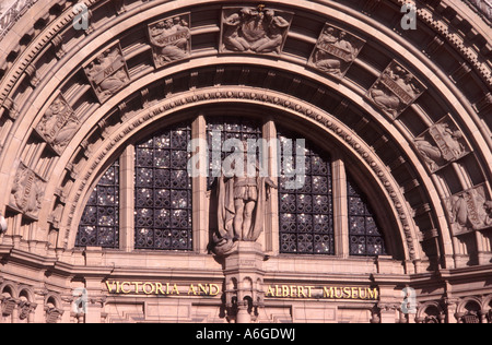 Ornamented arch over main Cromwell Road entrance to the Victoria and Albert Museum, London, England - Stock Photo