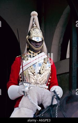 Black Queens Royal Horseguard Life Guard LifeGuard in London England - Stock Photo