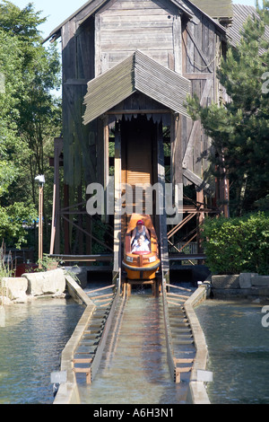 Pirate Falls boat flume ride in Legoland adventure theme park for families and children Windsor Surrey England UK - Stock Photo