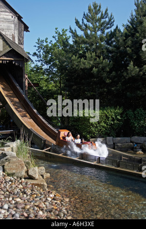 Pirate Falls boat flume ride with cascade splash in Legoland - Stock Photo