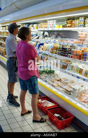 Supermarket shopping in France Self Service Delicatessen Selection - Stock Photo