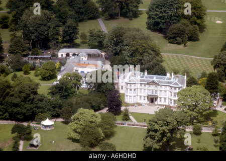 High level oblique aerial view of Sewerby Hall near Bridlington East Yorkshire England UK - Stock Photo