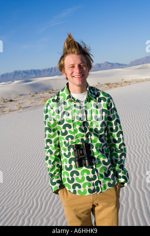 Man walking up a sand dune on gran canaria stock photo - Standing canarias ...