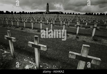World War One war cemetery at Douaumont ossuary Verdun - Stock Photo