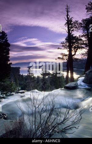 Sunrise over Lower Eagle Falls and Emerald Bay, Lake Tahoe, California, USA - Stock Photo