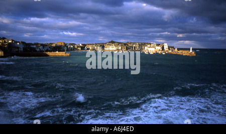 Sun breaks through on st ives cornwall after a storm number 1709 - Stock Photo