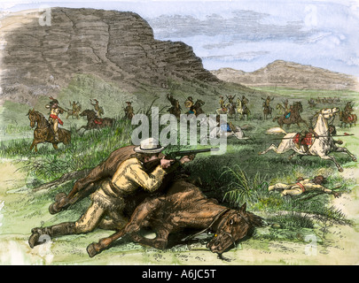 Scout for General Custer surrounded by hostile Arapahoes in the Black Hills 1874. Hand-colored woodcut - Stock Photo