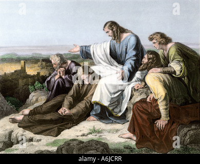 Jesus lamenting the fate of Jerusalem. Hand-colored engraving - Stock Photo