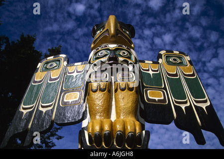 eagle figure on top of totem, Canada, British Columbia, Campbell River - Stock Photo