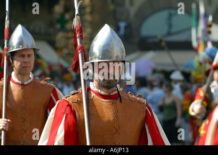 Costume football Game procession Florence Italy - Stock Photo