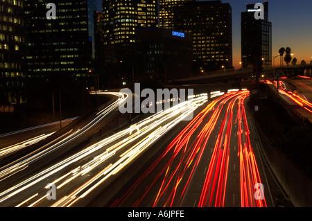 downtown freeway at night Los Angeles California - Stock Photo