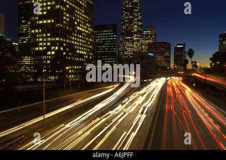 downtown freeway at night Los Angeles  - Stock Photo