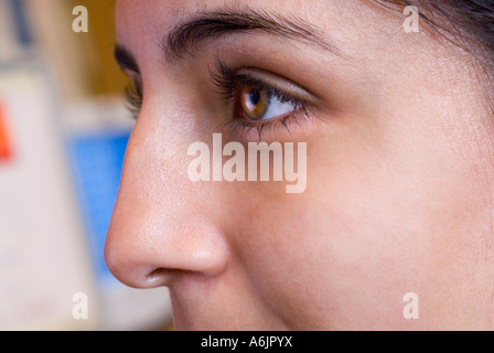 Close up on teenage Asian girl student working at her screen in school computer classroom - Stock Photo