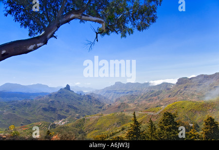 Roque Nublo and surrounding mountains in the centre of Gran Canaria Canary Islands Spain - Stock Photo