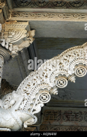 spectacular,white marble,intricately carved,Hathee Singh Jain 19th century Temple at Ahmedabad in Gujarat,India - Stock Photo