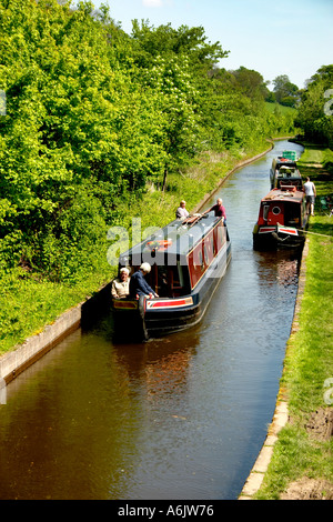 Narrow Boats Shopshire Union Canal Llangollen Denbighshire North Wales UK United Kingdom Europe - Stock Photo