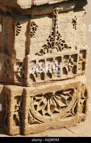Detail of the exquisitely carved historic Adalaj Step-well near Ahmedabad,Gujarat,India - Stock Photo