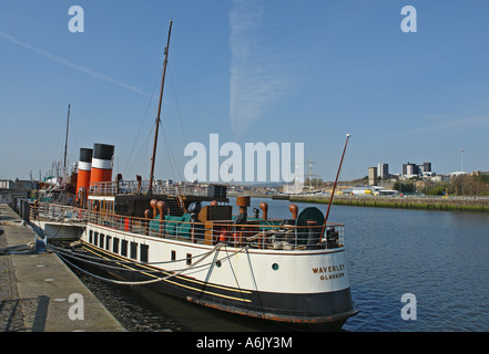 Paddle steamer Waverley tied up at its new berth on river Clyde by the Science Centre in Glasgow Scotland - Stock Photo