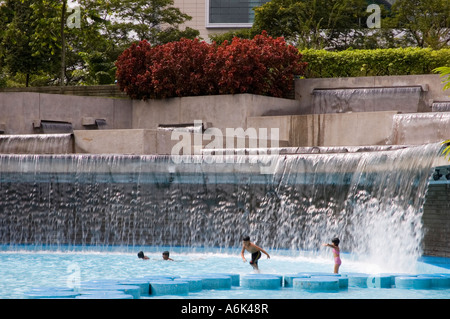 Swimming Pool In Klcc Park At The Petronas Twin Towers In Front Of Stock Photo Royalty Free