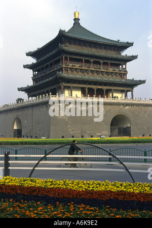 Bell Tower Morning Bell Xi'an Xian Great Ancient Capital of China Shaanxi Chinese Asian Asiatic Asia - Stock Photo