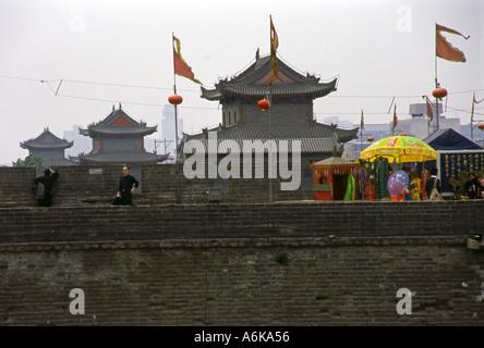 City Walls Xi'an Xian Great Ancient Capital of China  Shaanxi Chinese Asian Asiatic Asia - Stock Photo
