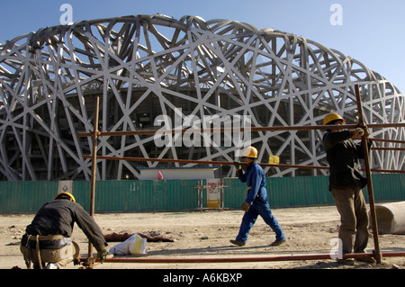 Construction site of the National Stadium known as the Bird Nest for 2008 Olympic Games in Beijing - Stock Photo