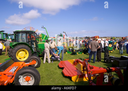 dh County Show KIRKWALL ORKNEY John Deere tractors machines at show ground display farming equipment uk - Stock Photo