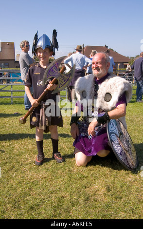 dh County Show KIRKWALL ORKNEY Shetland Jarl squad Viking boy dressed helmet axe - Stock Photo