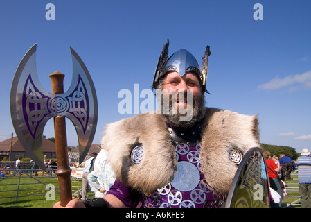 dh County Show KIRKWALL ORKNEY Shetland Jarl squad Viking dress shield helmet axe show ground - Stock Photo
