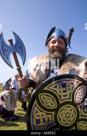 dh County Show KIRKWALL ORKNEY Shetland Jarl squad Viking dress shield helmet axe show ground man bearded - Stock Photo