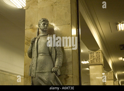 Rebel statues in the Partizan metro station in East Moscow - Stock Photo
