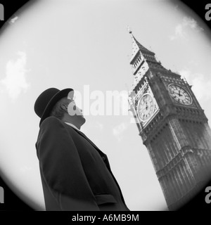 City gent looking at Big Ben clock - Stock Photo