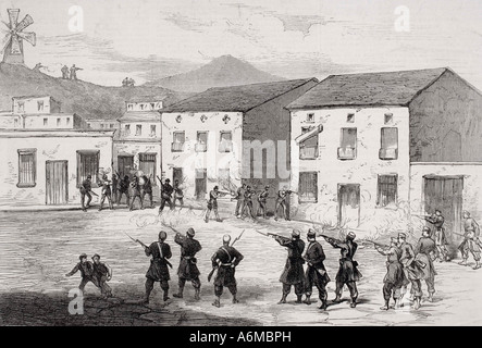 Carabiniers resisting the insurgents at Cartagena Murcia Province Spain during 3rd Carlist War - Stock Photo