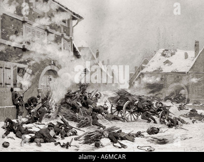 Attack with Fire against a barricaded house. Incident in the French Prussian War of 1870 to 1871. - Stock Photo