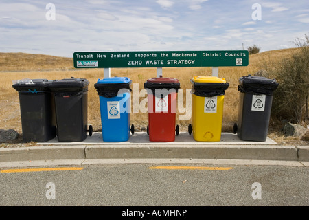 Colourful recycling bins at visitor centre near Lake Pukaki Mackenzie District New Zealand - Stock Photo