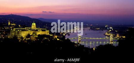 City panorama at night from Gellert Hill Budapest Hungary - Stock Photo