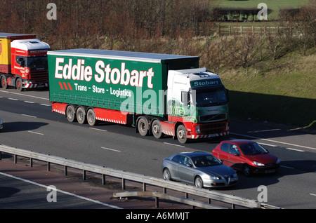 Eddie Stobart lorry on M40 motorway, Warwickshire, England, UK - Stock Photo
