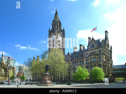 Town hall Albert Square Manchester City centre Lancashire UK England Europe - Stock Photo