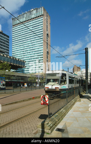 Metro and plaza Piccadilly Gardens Manchester City centre UK Europe - Stock Photo