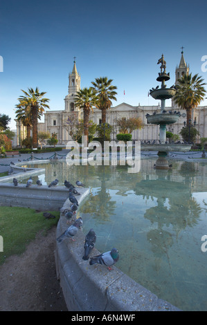 the Cathedral Plaza de Armas Arequipa Peru - Stock Photo