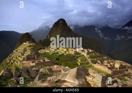 storm clouds over Machu Picchu Peru South America - Stock Photo