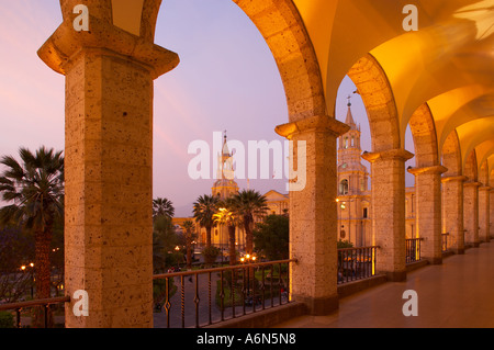 the Cathedral Plaza de Armas at dusk Arequipa Peru - Stock Photo