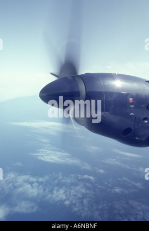 Turbo-prop Engine in operational Flight.    GAV 2261-236 - Stock Photo