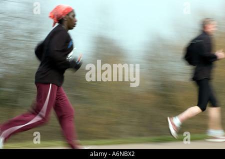 PICTURE CREDIT DOUG BLANE running the Nike Milton Keynes half marathon - Stock Photo