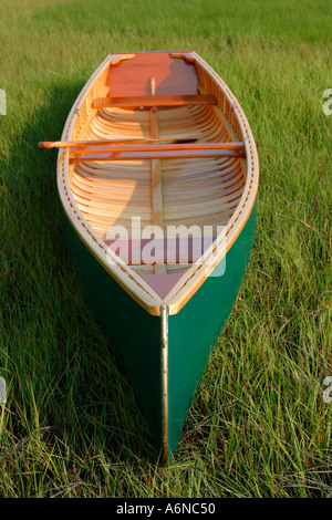 Hand Built wooden canoe - Stock Photo