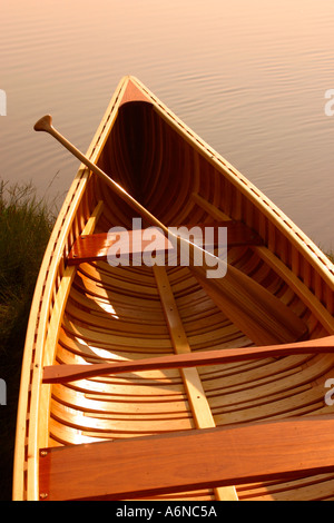 Hand Built wooden canoe Cape Cod Massachusetts - Stock Photo