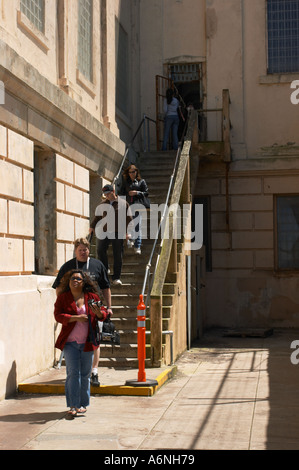 Stairs from prison to exercise yard on Alcatraz Island San Francisco California - Stock Photo